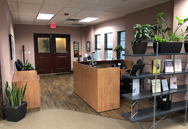 Photo of the reception front desk at the Egoscue clinic in Austin, Texas