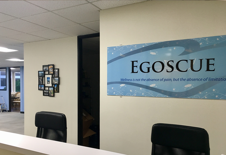 Photo of the reception front desk at the Egoscue clinic in Beverly Hills, California