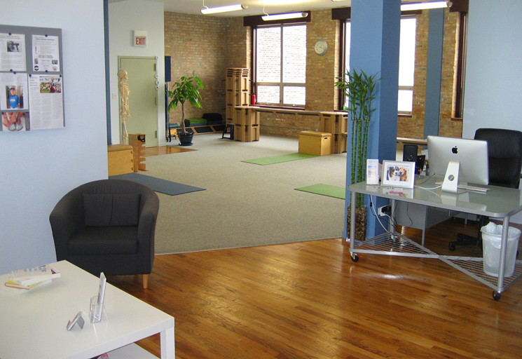 Photo of the reception area and therapy facilities at the Egoscue clinic in Chicago, Illinois