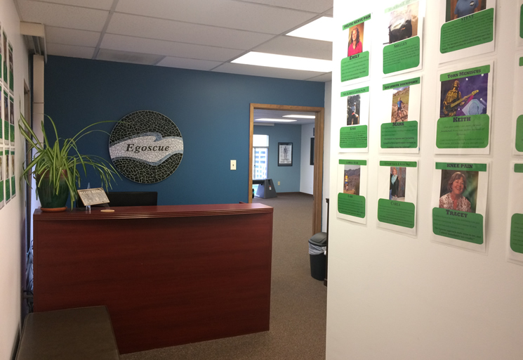 Photo of the reception area at the Egoscue clinic in Denver, Colorado