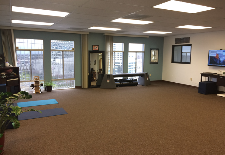 Photo of the therapy facilities and equipment at the Egoscue clinic in Denver, Colorado
