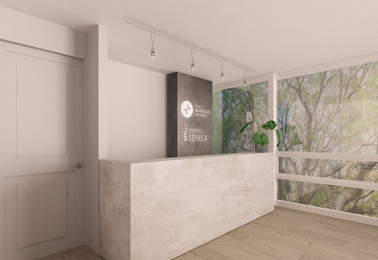 Photo of the reception area and front desk at the Egoscue clinic in Mexico