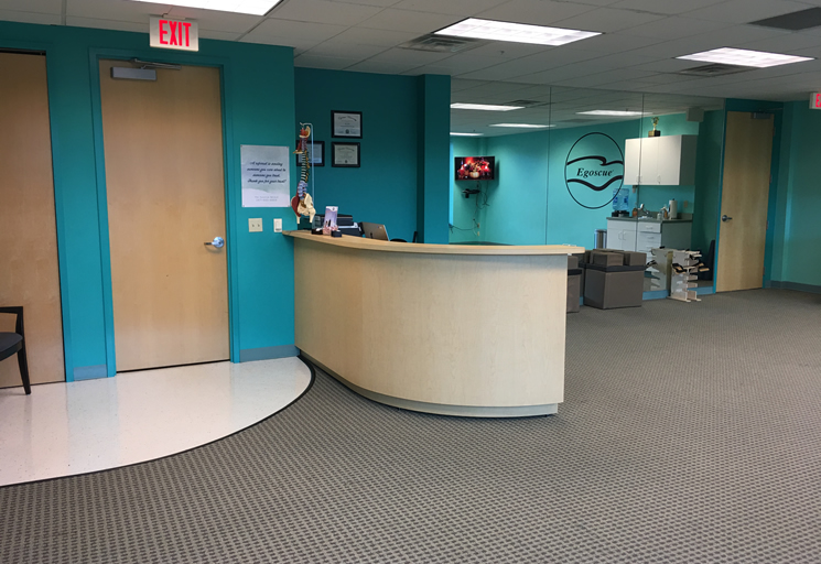 Photo of the reception area at the Egoscue clinic in Philadelphia, Pennsylvania