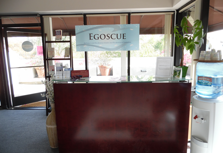 Photo of the reception area front desk at the Egoscue clinic in Santa Monica, California
