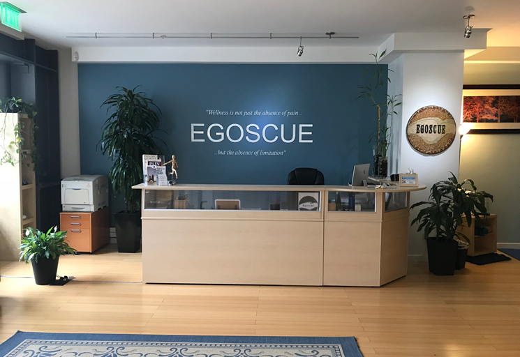Photo of the reception area front desk at the Egoscue clinic in San Francisco, California