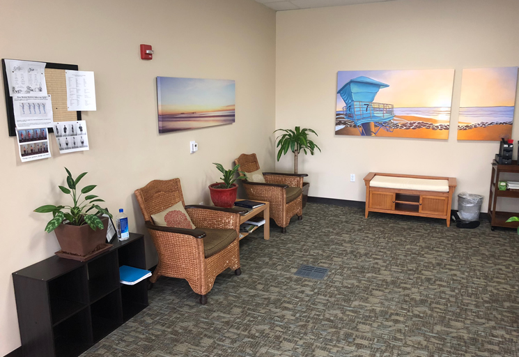 Photo of the reception area at the Egoscue clinic in San Diego South, California