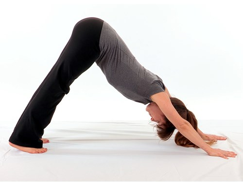 A photo of a woman in Downward Dog pose