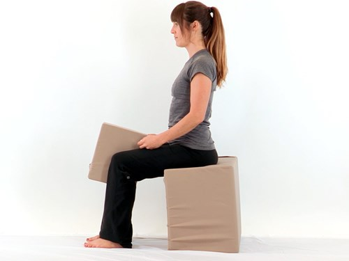 Photo of a woman doing sitting knee pillow squeezes