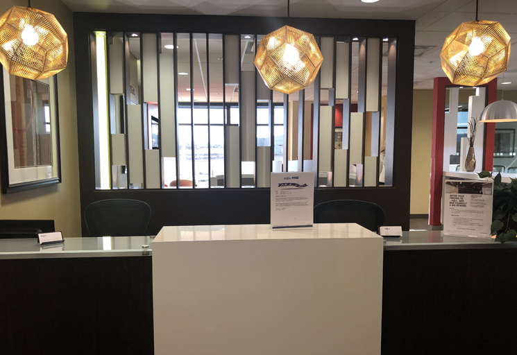 Photo of the reception area front desk at the Egoscue clinic in Las Vegas, Nevada